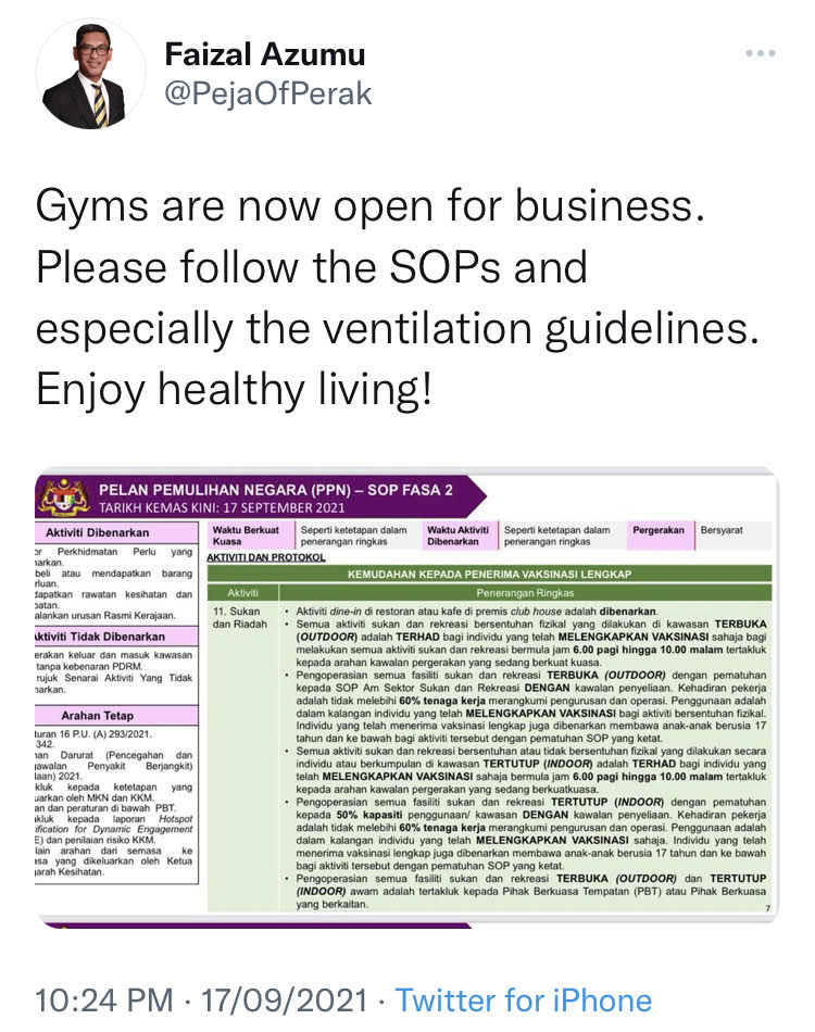 Gyms are now allowed to operate in Phase 2, Phase 3 and Phase 4 states. Gym SOPs must be followed.